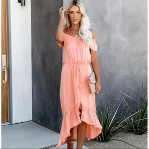 NWT Coral Off Shoulder High Low Dress
